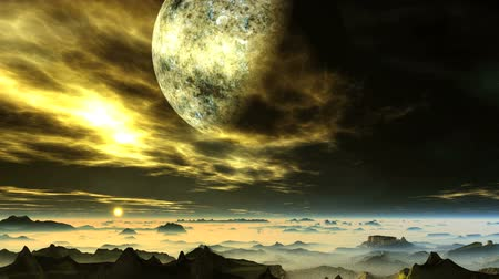 Alien Planet in Flaming Clouds. In the dark starry sky, a large planet among bright glowing clouds. Rocks and lowlands are covered with thick white fog. Above the horizon, a distant bright yellow sun.