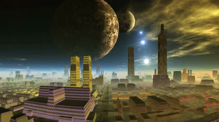 Two Planets and Shooting Stars over Alien City. Over the city in a dark starry sky two large planets. Bright blue objects (UFO) fly to the horizon. Yellow glowing clouds float across the sky. City shrouded in mist.