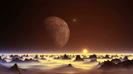 UFO over an Alien Planet. From the huge moon flies a bright glowing object (UFO). Over the hazy horizon yellow setting sun in a halo. Desert cliffs are among the dense fog.
