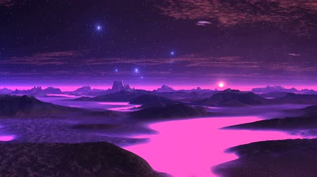 Gloomy Planet and the UFOs. Mountains, rivers, horizon are covered with dense lilac fog. Bright blue objects (ufos) fly over the landscape. The dark starry sky floating clouds. Bright sun rises.