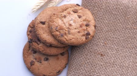 chunk : top view of stack of fresh and homemade cookies on table,