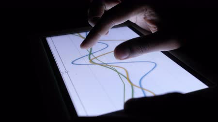 movilidad : analyzing financial data and chart on digital tablet on office desk Archivo de Video