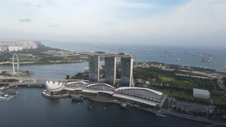 brochura : top view of marina bay hotel and flayer in singapore