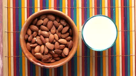 pitcher : top view of almond and milk on table