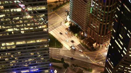 high angle view of illuminated singapore financial buildings