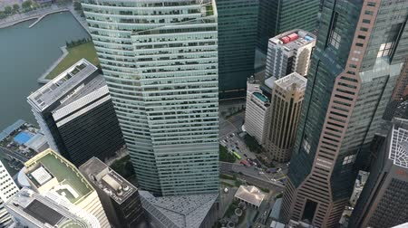 grande angular : high angle view of singapore financial buildings