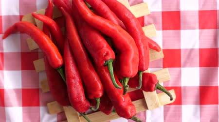 chili : top view of many red chili on table Stock Footage