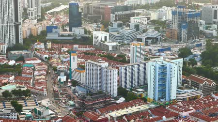 built up : high angle view of singapore financial buildings at morning Stock Footage