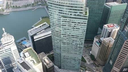 high angle view of singapore financial buildings at morning Wideo