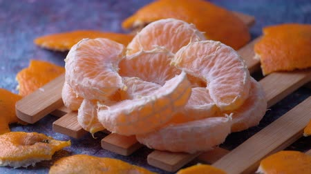 Close up of slice of orange on table Wideo