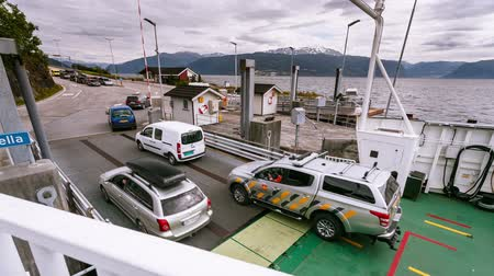 waters : Time-lapse of transport loading on ferry in Norway 4k