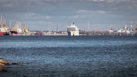 riga : Cruise Ship Going Out Of Riga Time-Lapse Stock Footage