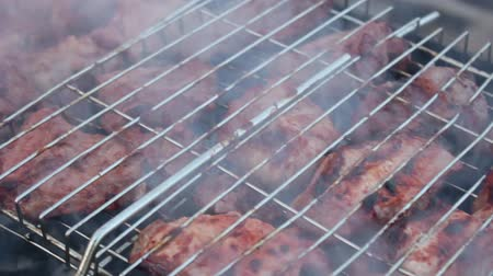 fried stake : Grid with a barbecue Stock Footage