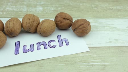 usual : A lot of nuts for a lunch Stock Footage