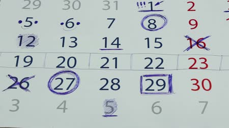 geçti : Noted numbers in the calendar
