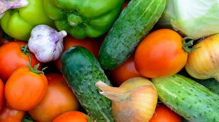 Fresh vegetables top view background