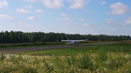 aerodrome : Moscow region, Russia-August 11,2017: Private Light Aircraft Rides On The Runway