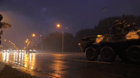 bělorusko : Minsk, Belarus-June 30,2017: Rehearsal Military Parade With Armored Vehicles