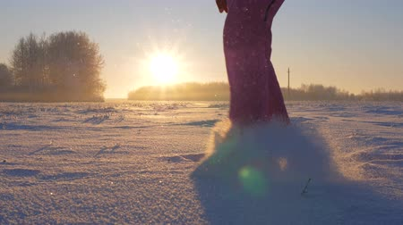 kicked : Woman In Winter Field At Sunset Kicked The Snow Feet Throws Snowflakes And Frost Stock Footage