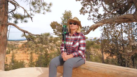 fennsík : Woman Tourist At Canyon Resting Sitting On A Wooden Bench At A Hiking Trail 4K