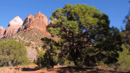 pináculo : Movement, View From The Car On A High Red Mountain Zion National Park 4k.