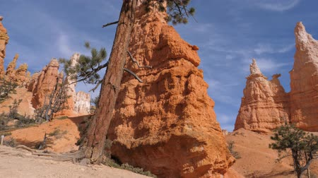 pináculo : Panning Stunning Gorge With Orange Red Sandy Mountains Beautiful Bryce Canyon