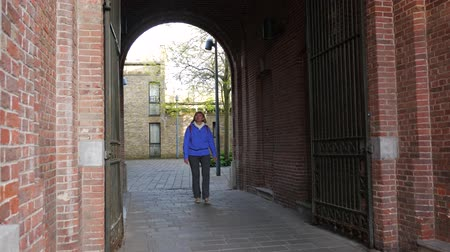 adorno : Woman Tourist Walks Through The Arch Of House Vídeos