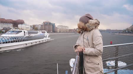 enjoys : Moscow, Russia-october 18, 2017: Woman Float Boat River, Toward Cruise Ship