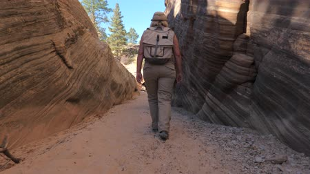 goes : A Hiker Mature Woman Walks Between The Smooth And Wavy Rocks Of The Canyon