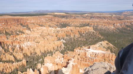 admires : A Woman Admires The Natural Beauty Of The Bryce Canyon Stock Footage