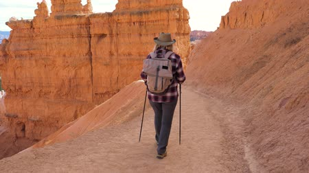 vaqueiro : Active Hiker Woman Goes Down The Route Near The Rock Wall Of The Bryce Canyon
