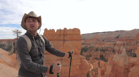 vaqueiro : A Hiker Man In A Cowboy Hat Looks Around The Canyon Scenery.