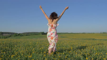 uzanmış : Woman Standing In A Blooming Yellow Field In A Dress Raises Arms And Turning