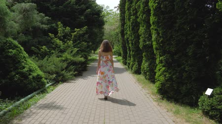 sandals : Woman In A Dress Walking Through A Neat Alley Of Decorative Trees On A Sunny Day