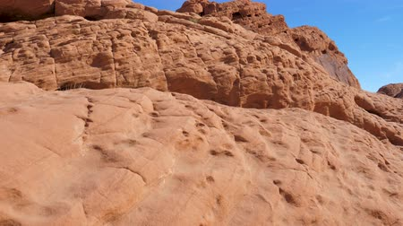 nevada : Camera Movement Is Smooth And Wavy Red Rock Canyon In The Desert With Sand