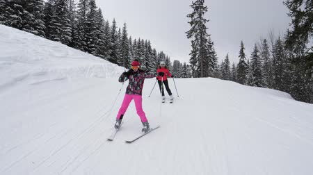 skier : Skiers Have Fun Skiing Down The Mountain In Winter Stock Footage