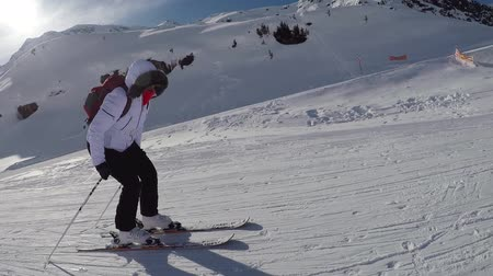 pushed : Skier In The Mountains On A Gentle Slope Pushed His Sticks To Skiing Down