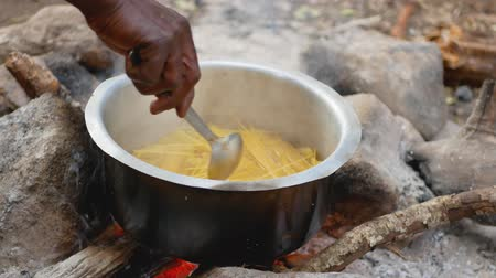 dušené maso : Close-Up Of African American Hand With Spoon Mix Pasta In A Pot On The Fire Dostupné videozáznamy