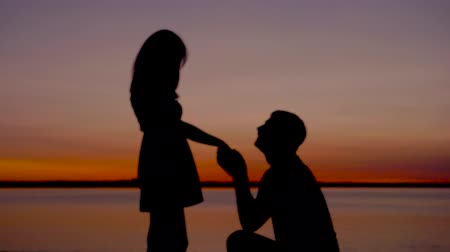 спрашивать : Silhouette Of A Man Sit Down On His Knee And Puts The Ring On The Woman Hand Стоковые видеозаписи
