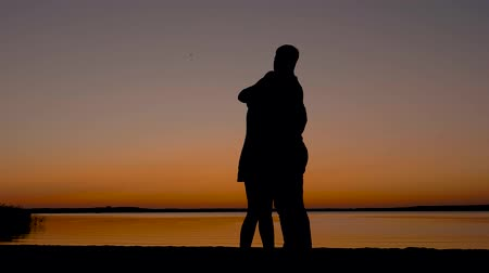 acariciando : Loving Couple Men And Women Kissing And Cuddling At Sunset On The Beach Vídeos