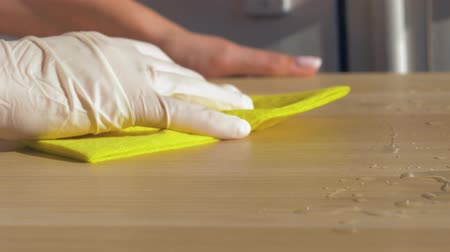 sanitize : Hand Housewives Rubber Glove Wiping Rag Dirty Table With Cleaners