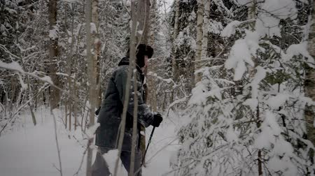 deriva : Caucasian Man Hiking Through Snowy Forest With Trekking Poles In Winter