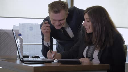 Creative Manager And Businesswoman Have Fun Chatting In Office Using Computer