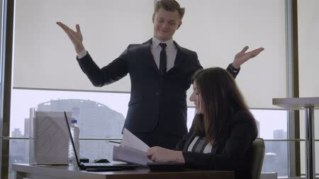 Happy Businessman And Top Manager Makes Success Gesture And Throws Up Documents
