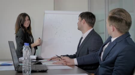 Woman Top Manager Presents A Project Plan To Colleagues At A Meeting In Office Stock mozgókép