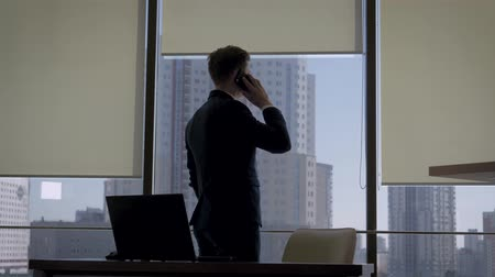 Director In A Business Suit Talking On Phone At Office Window Near To Workplace Wideo