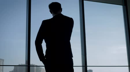 Back View Of Businessman In Suit Standing In Office Looking Out The Window Wideo