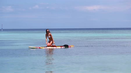 remo : Attractive Young Woman Stand Up Paddle Surfing, Beautiful Tropical Ocean