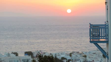 nyaraló : Beautiful colorful sunset of amazing greek town Mykonos
