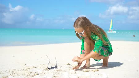 seashell : Adorable little girl playing with seashells on beach